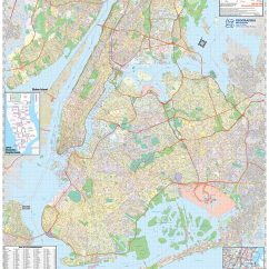 5 Boroughs Of New York City Laminated Wall Map