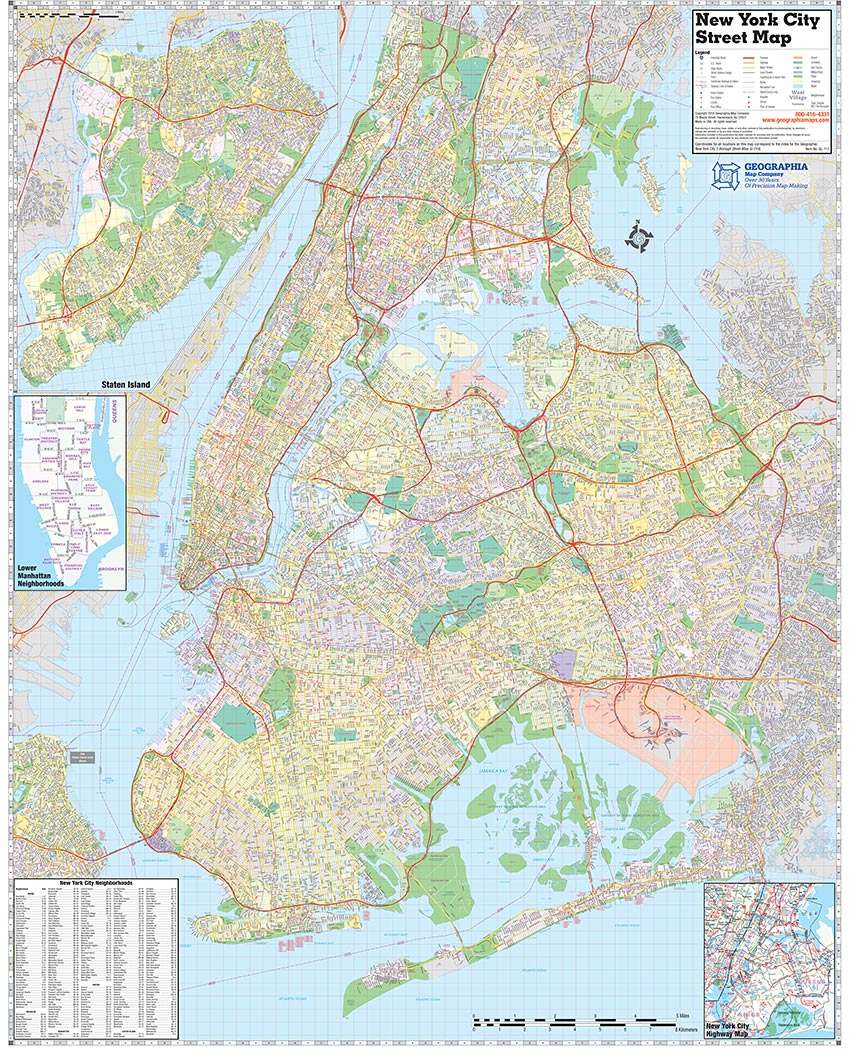 5 Boroughs Of New York City Laminated Wall Map Geographia Maps