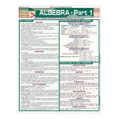 QuickStudy | Algebra Part 1 Laminated Study Guide